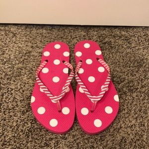 Pink and White polka dot beach flip flops